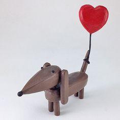 Dachshund with Heart Balloon: Hilary Pfeifer: Wood Sculpture   Artful Home