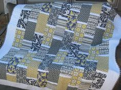 """Yellow and gray """"brick"""" quilt « Material Girl Quilts"""