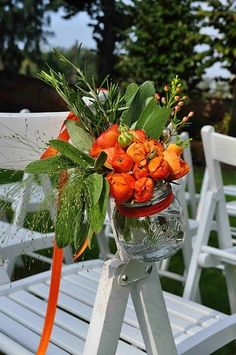 orang, canning jars, wedding ideas, country weddings, outdoor parties, romantic weddings, aisle flowers, mason jars, chair decorations