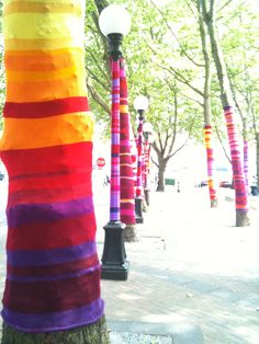 Yarn bombing. Occidental Park, Seattle