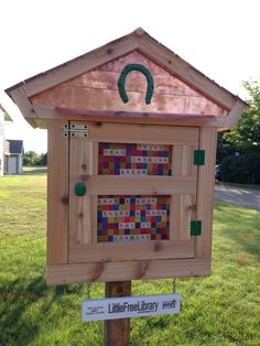 Kim Waltman. Little Falls, MN. This sweet little cedar-sided Library was crafted for me by my talented brother, Jeff. The horseshoe at the top was found while we were out agate hunting together. The Scrabble tiles were my creative contribution to the project and I hope that they are found inviting. I'm so excited to further share my love of reading with my community! It is my goal to keep the library stocked with books for all ages and interests.