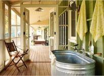 Stock tank bath tub....love it! Line with fiberglass
