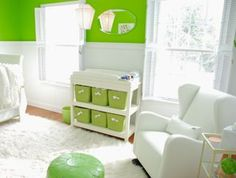 Sublime Modern Lime Green and Nursery- A Modern Nest for Our Baby: Our modern lime green and white nursery was the result of our wish for a sophisticated, gender neutral space for our baby.  Wainscoting for the walls was
