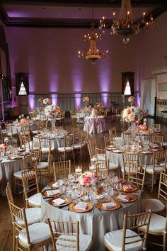 Classic Elegant Wedding Reception with Purple Dramatic Uplights. Germania Place Wedding. Kenny Kim Photography. Sweetchic Events.