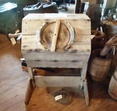 Old Raggedy Ann Antiques: Late 1800s Barrel Butter Churn with stand