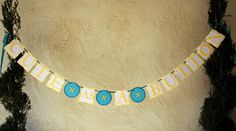 CUTE AS A BUTTON Baby shower Banner Garland Decoration. $28.00, via Etsy.