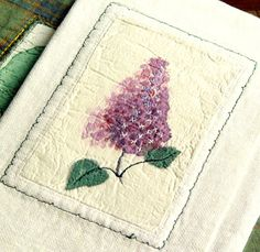 LILAC WALLET textile pocket purple white by BozenaWojtaszek, $32.00