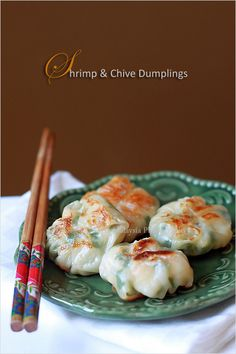 Shrimp and Chive Dumplings - A popular pan-fried dumpling on dim sum menu. If you don't want to make the skin from scratch, wrap the shrimp dumplings with regular dumpling/potsticker wrappers or wonton skin #seafood