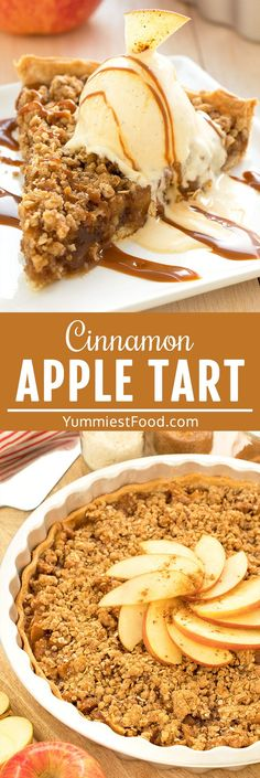 Warm apples, crispy topping drizzled with caramel sauce and vanilla ice cream over - enjoy fall with easy Cinnamon Apple Tart Recipe with Caramel Ice Cream Topping. The measures are in spoons, ingredients are so simple and the taste is irresistible! #desserts #dessertrecipes #dessertfoodrecipes #easyrecipes #tart #tartrecipes #apples #appledesserts #applerecipes #appletart