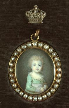 Miniature portrait of Louis-Charles in 1789, future Louis XVII, the son of Marie Antoinette and Louis XVI. He died before the Revolution.