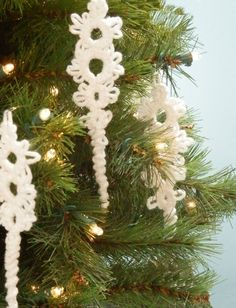 Icicle Ornaments Set 5 Tatted Lace Christmas by JeanineDesigns,