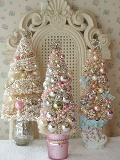 Such charmingly gorgeous little pastel and silver hued shabby chic Christmas trees. #Christmas #tree #vintage #ornaments #decor #decorations #shabby #chic #pink #silver