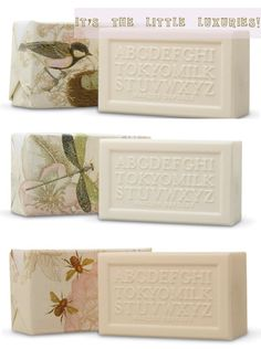 tokyo milk soap - glittery packaging, fresh smelling, and typography themed bar = thumbs up.
