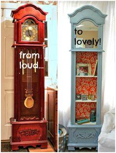 Repurpose: Grandfather Clock to Shelving - pretty for a little girl's room or cottage decor... decor, project, idea, grandfath clock, shelves, hous, furnitur, diy, grandfather clocks