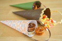 thanksgiving crafts, paper cones, thanksgiv craft, scrapbook paper, kid
