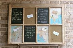 love this! window pane with vintage maps, cork and chalkboard paint