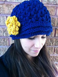 V-Puff Hat with Easy Rolled Flower