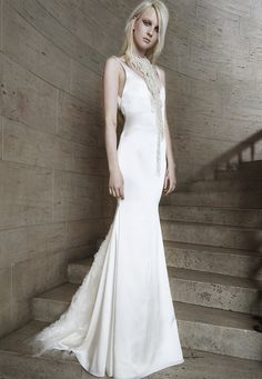 Look 3. Ivory V-neck silk charmeuse mermaid gown with gathered tulle accent sweep.