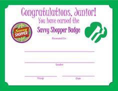 Junior Savvy Shopper Badge Certificate