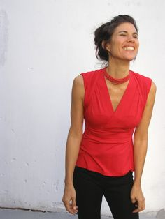 Womens clothing-Red womens blouse-2 ways top/shirt- TURNAROUND  TOP -Yoga top-Womens clothes on Etsy, $83.00