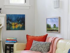 Ditch the old eye-level rules. Hang art lower, so kids can enjoy it, and white walls everywhere can get a boost. #hgtvmagazine http://www.hgtv.com/decorating-basics/the-house-of-easy-to-imitate-ideas/pictures/page-7.html?soc=pinterest