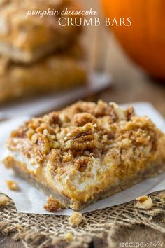 Pumpkin Cheesecake Crumble Bars are a nutty, crumbly bar with a delicious cheesecake center! A perfect fall dessert!