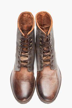 DIESEL brown worn leather Dot boot.