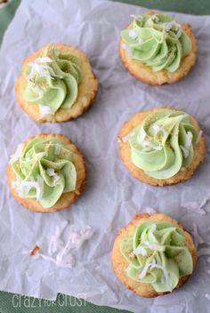 Coconut Key Lime Pie Cookie Cups by www.crazyforcrust.com   Coconut flavored cake mix cookies frosted with Key Lime Pie frosting! #duncanhines #frostingcreations #cookie