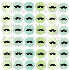 Buttons  Blue and Green Mustaches set of 20 di buttonsandbadges, $7.50