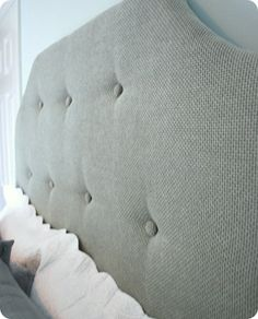 tufted headboard final from side. I always wanted to add tufted buttons to my DIY headboard.  Now I know how!