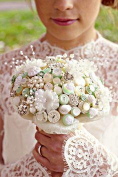 Pretty button bouquet! pearl, bridal bouquets, wedding bouquets, weddings, button bouquet, celery, mint, ivory, buttons