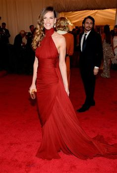 """Hilary Swank attends the Costume Institute's gala for the exhibit """"Schiaparelli and Prada: Impossible Conversations"""" at New York's Metropolitan Museum of Art on May 7, 2012."""