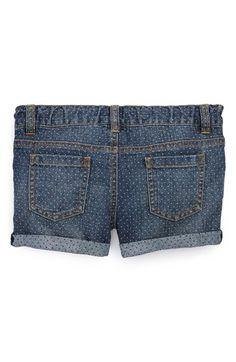 polka dot cuffed denim shorts for little girls!