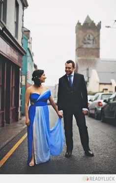 the bride wore blue. #wedding #gown