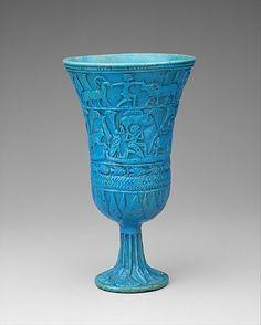 Lotiform Chalice  Period: Third Intermediate period Dynasty: Dynasty 22-25 Date: ca. 945–664 B.C. Geography: Middle Egypt, Tuna el-Gebel region; Egypt Medium: Faience