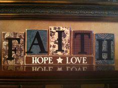 FAITH HOPE LOVE Wood Block Sign