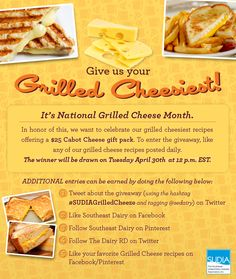 Looking to win $25 Cabot Gift Pack? Follow these steps and get real cheesy with us this month for National Grilled Cheese Month! #SUDIAGrilledCheeze