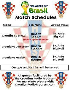 St. Anthony Croatian Catholic Church, 712 N. Grand Ave., will show Croatia's three group games.