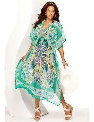 Avenue Plus Size Floral Caftan Maxi Cover Up