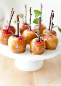 Caramel apples on little branches! Cute AND delicious.