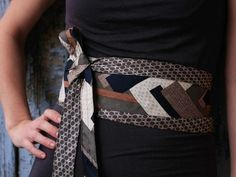 12 Ways to Upcycle Old Neckties: This simple but elegant obi belt made by Rose Riley (elsiemontreal at Etsy.com) is a visually compelling way to use two complementary mens neckties. The belt wraps around the back and ties in the front, and includes a small pocket for cash or keys. From DIYnetwork.com