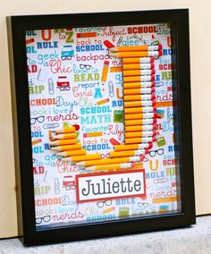 Customized Pencil Monogram Framed with your Choice of letter and name by prettypaperparty, $40.00