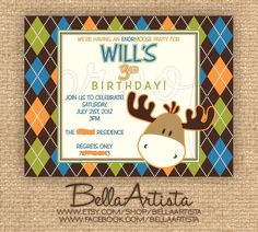 Moose Birthday Party Invite  Baby Shower by BellaArtista on Etsy, $20.00