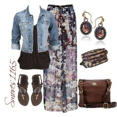 """Printed Maxi Skirt"" by smores1165 on Polyvore"