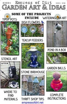 Garden art and ideas with 18 projects using repurposed and upcycled household items