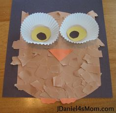 Owl Craft with Cupcake Liner Eyes cupcake liners, mom crafts, owl crafts, craft projects, owl cupcakes, cupcak liner, cupcake liner crafts, craft ideas, art projects
