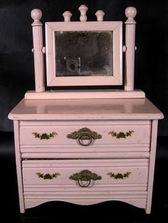 Antique Pink Doll Dresser with Mirror Painted Pink