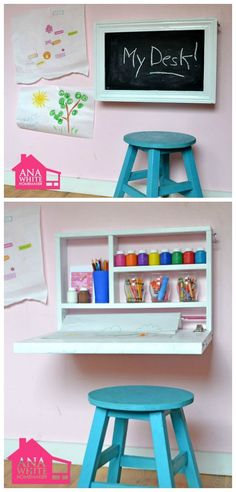 flip-down wall art desk for kids - DIY tutorial and plans