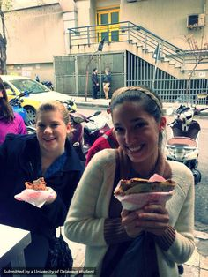 "After a trip to the Byzantine Museum, the Athens FLLT group ""took a well needed break to have some yummy crepes!"""
