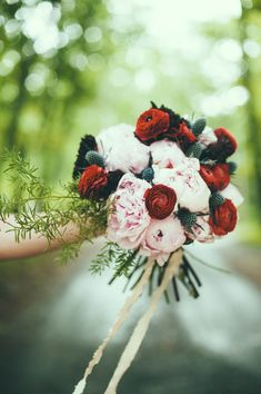 Those Colors!  peony, ranunculus, and thistle bouquet, photo by Off Beet Productions http://ruffledblog.com/bohemian-nouveau-styled-wedding #weddingbouquet #flowers